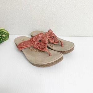 Aetrex Emily Red Rose Leather Thong Sandal 7